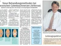 Artikel über chronische Gelenksschmerzen (Arthrose)